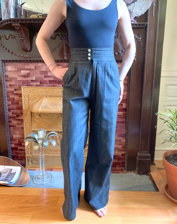 Vintage High Waisted Cummerbund Pants