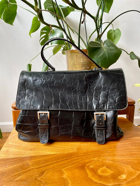 Vintage 90s Prada Black Leather Satchel Bag - image 3