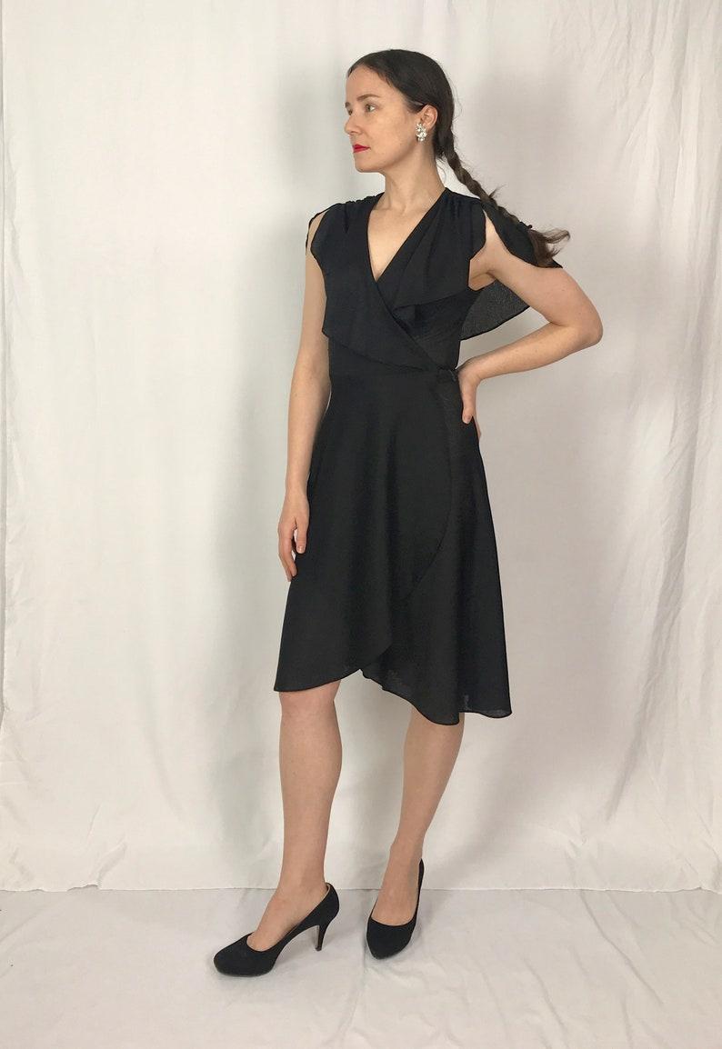 1722de76d25c0 70s Black Wrap Dress Flutter Sleeve Dress Vintage 70s | Etsy