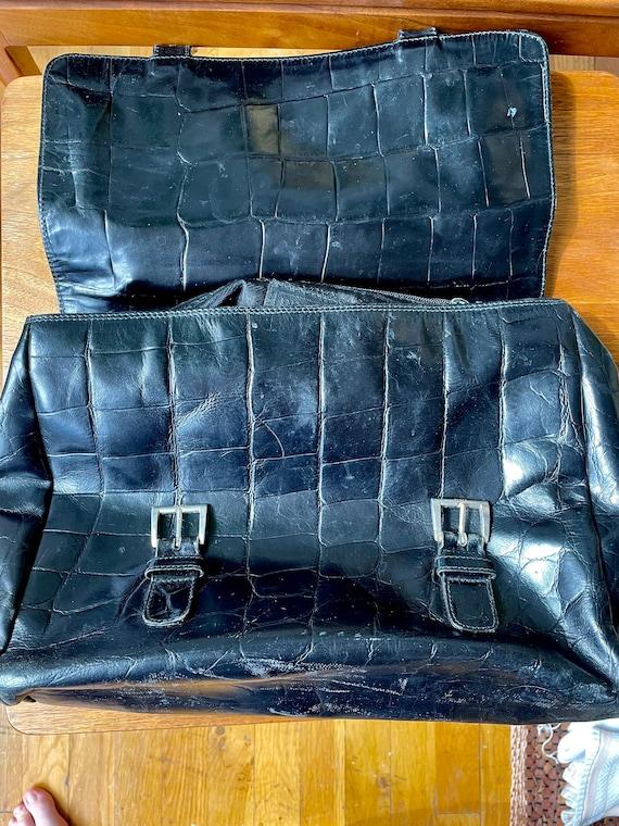Vintage 90s Prada Black Leather Satchel Bag - image 10