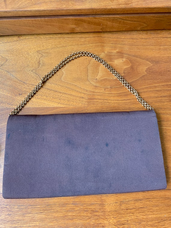 Vintage 70s Gucci Brown Clutch Handbag with Gold … - image 6