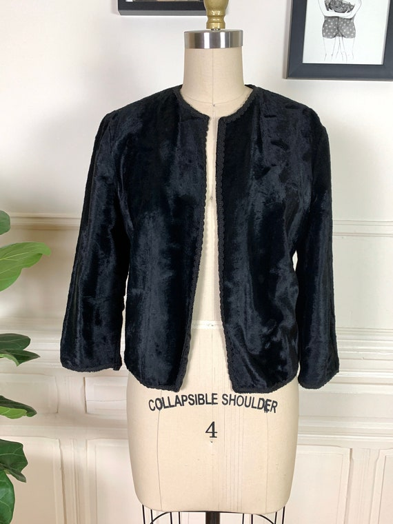 1940s Silk Velvet Cropped Black Jacket