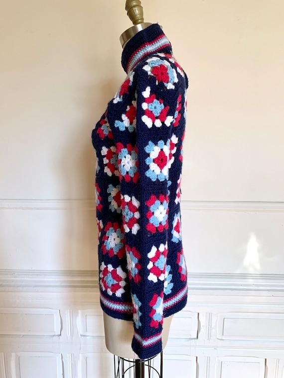 Vintage Handmade Granny Square Turtleneck Sweater… - image 3