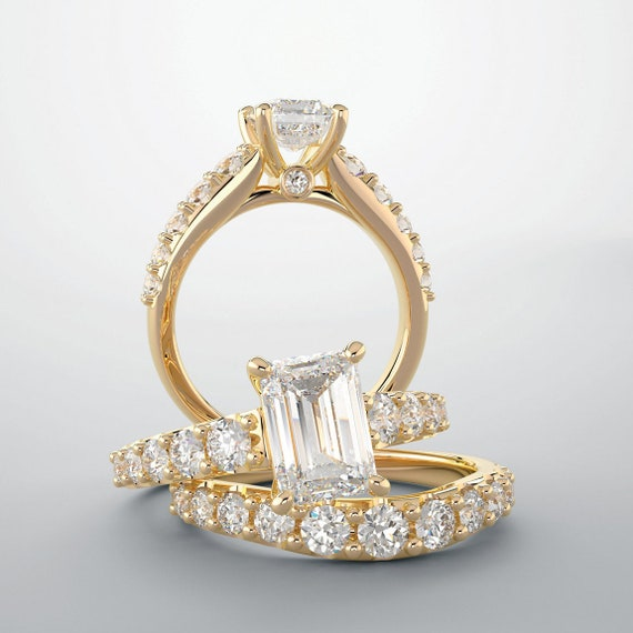 0 80 Ct Emerald Cut Diamond Engagement Ring 14k Yellow Gold G Etsy