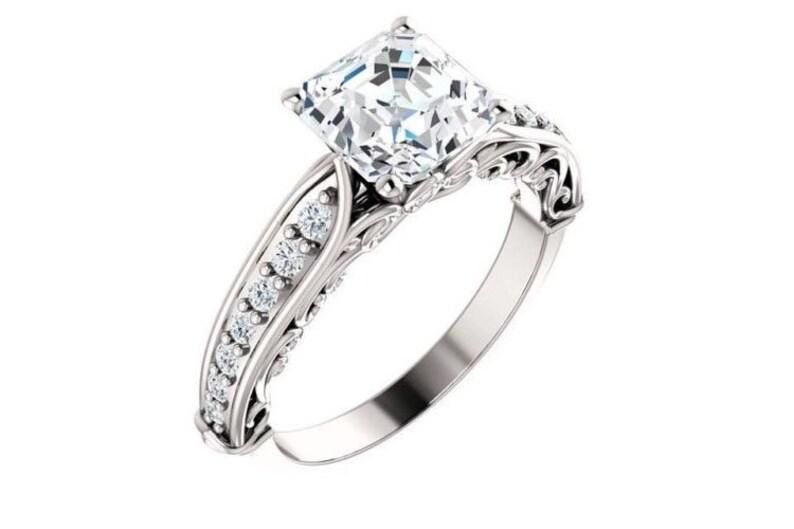 d37e1128e 1.25 carat Asscher cut Diamond Engagement Ring 14k White Gold   Etsy