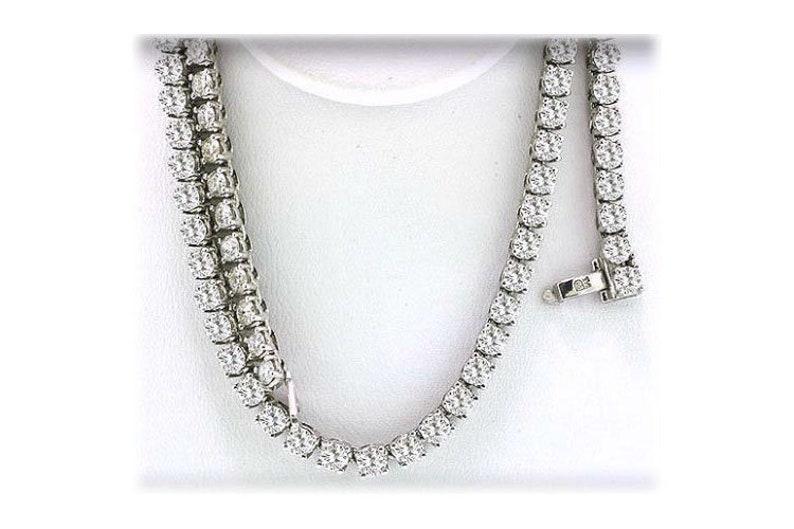 8167add7297906 Non Graduated Round Diamond Tennis Necklace .20 ct each F G 4 | Etsy