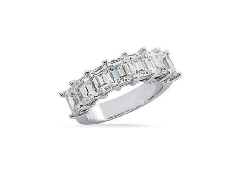 c109a1c852071 1.50 carat 7 Stone Emerald Cut Diamond Ring Anniversary Band H VS1 14k  White Gold