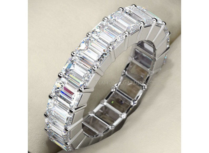 c1a5502568038 5.25 ct Emerald cut Diamond Ring 14k Gold Eternity Band F VS1 Size 6 0.25 ct