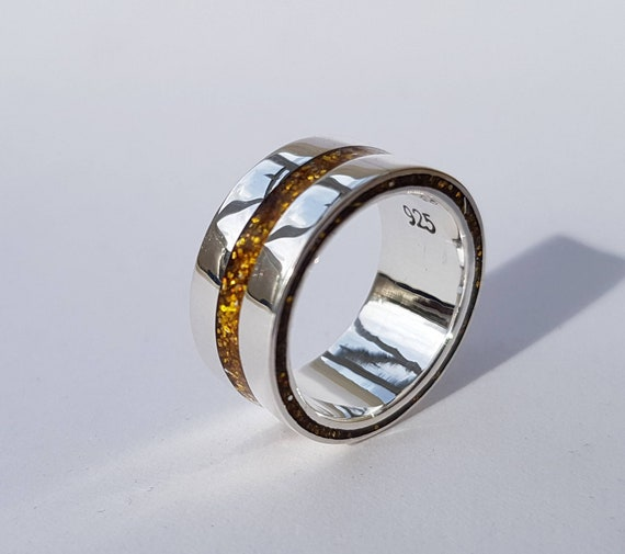 Unique Stacking ring Crystal resin. Stacker Handmade sterling silver ring 925 Beau Madeline