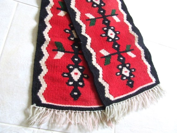 2 Piece SET Vintage Woven Table Runner Doily Tablecloth Pair Homespun Folk Wool Linen Handmade Embroidered Hungarian