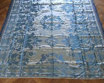 silk bedding  Italian Gypsy Bedspread Reversible Blue and silver Silk. Vintage Coverlet Vintage Silk Bedspread Italian Wedding