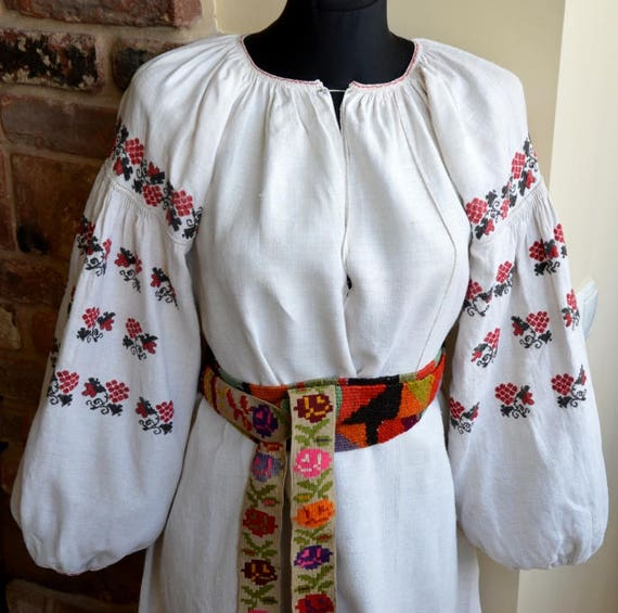 Embroidered dress. Antique hemp vyshyvanka. shirt.