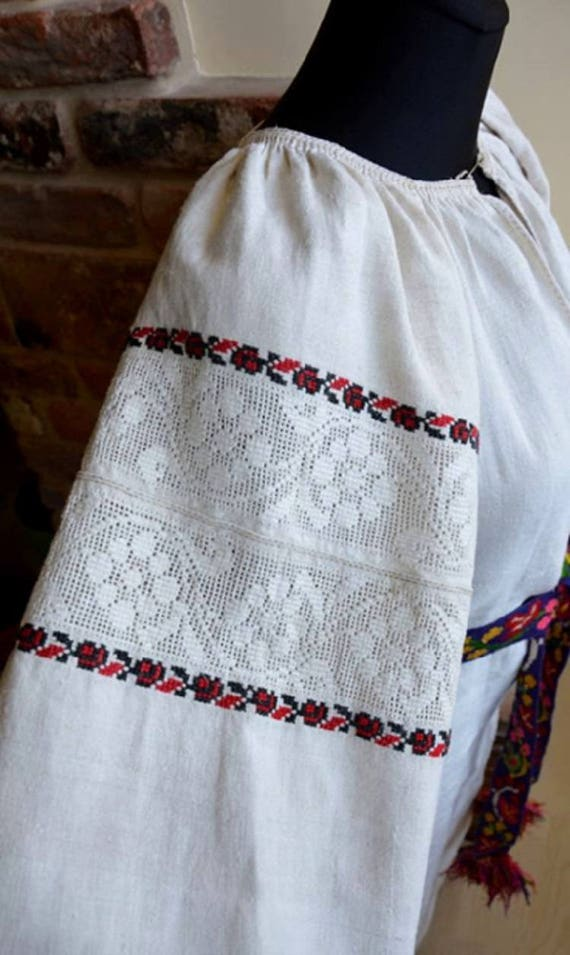 Embroidered dress. Antique hemp vyshyvanka.  M. uk