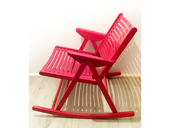Fine Vintage Mid Century Iconic Rex Niko Kralj Rocking Chair Red Moma Folding Chair 1970S Andrewgaddart Wooden Chair Designs For Living Room Andrewgaddartcom