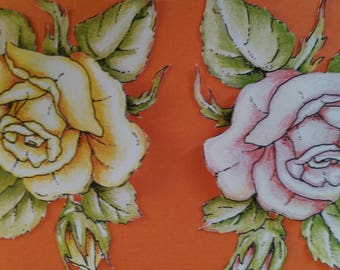 """Handcrafted card 3D """"duo of roses"""""""