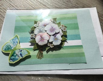 "Card 3D ""bouquet of violets."