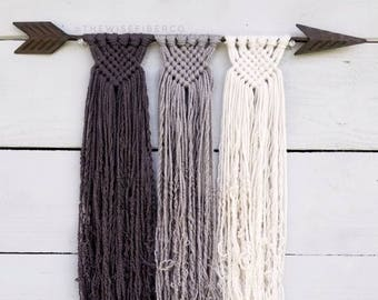 Custom Macrame Wall Hanging, Rustic Metal Arrow, Boho Farmhouse Woven Decor, Nursery Art, Dorm Decorations, Birthday Gifts for Women, Mom