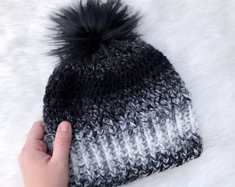 94eab778920 Ombré Black and Off White Women s Crochet Fall   Winter Beanie Hat with Faux  Fur Pom Pom