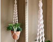 Macrame Plant Hanger quot The Twister quot , Retro Hanging Plant Holder, Indoor Air Hanging Planter, Boho Housewarming Gift, College Dorm Decor
