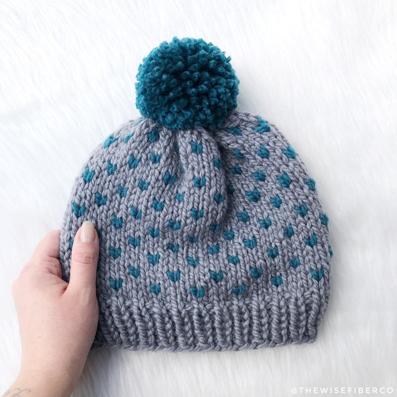 09f99f2d9a6 Women s Gray and Teal Blue Nordic Chunky Knit Beanie w