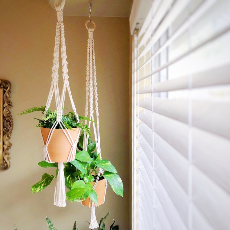 Cotton Macrame Plant Hanger The Quattro For Indoor Etsy