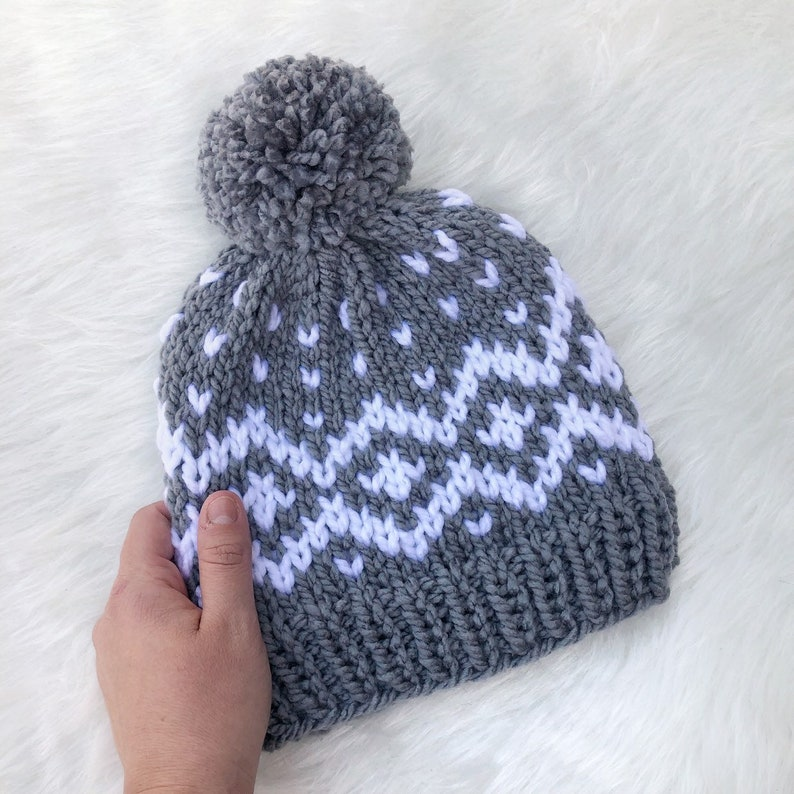 d99685f76b1 Women s Gray and White Nordic Chunky Knit Beanie w  Pom