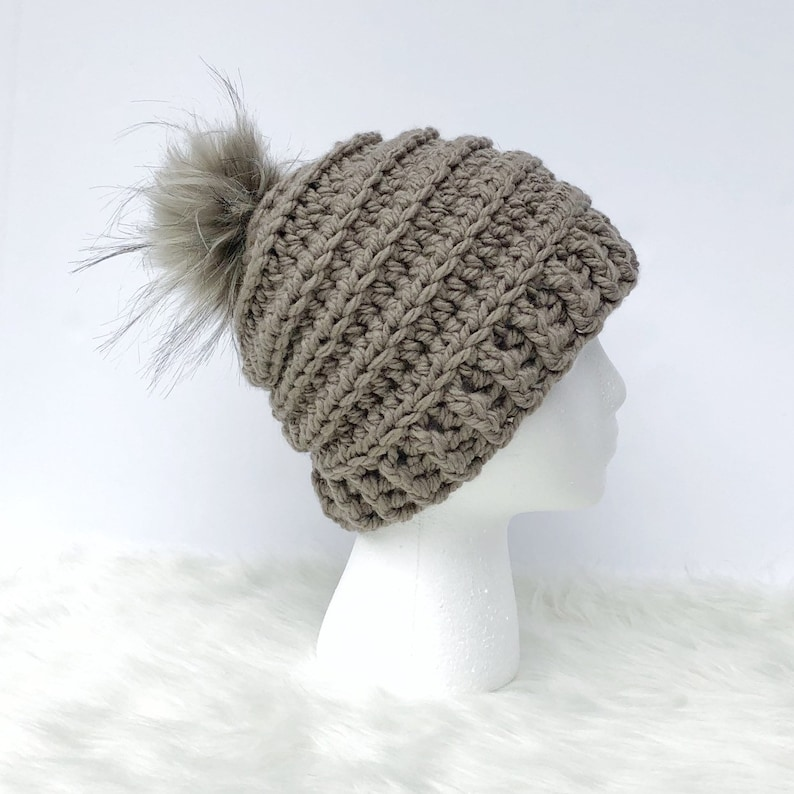 Neutral Outerwear Stocking Stuffer Gift for Women Dark Taupe Extra Chunky Women/'s Crochet Winter Beanie Hat with Faux Fur Pom Pom