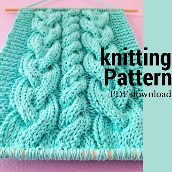Cable Sampler Knitting Pattern Diy Wall Hanging Pattern Easy Etsy