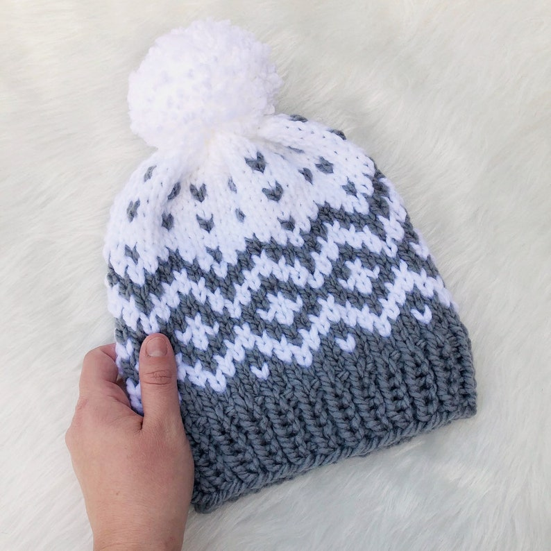 fbb119c5193 Women s Chunky Gray and White Nordic Knit Beanie w  Pom