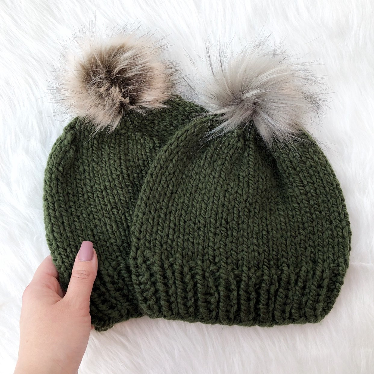Women s Olive Green Knit Fall   Winter Beanie Hat w  Faux  b8d8c230cd7