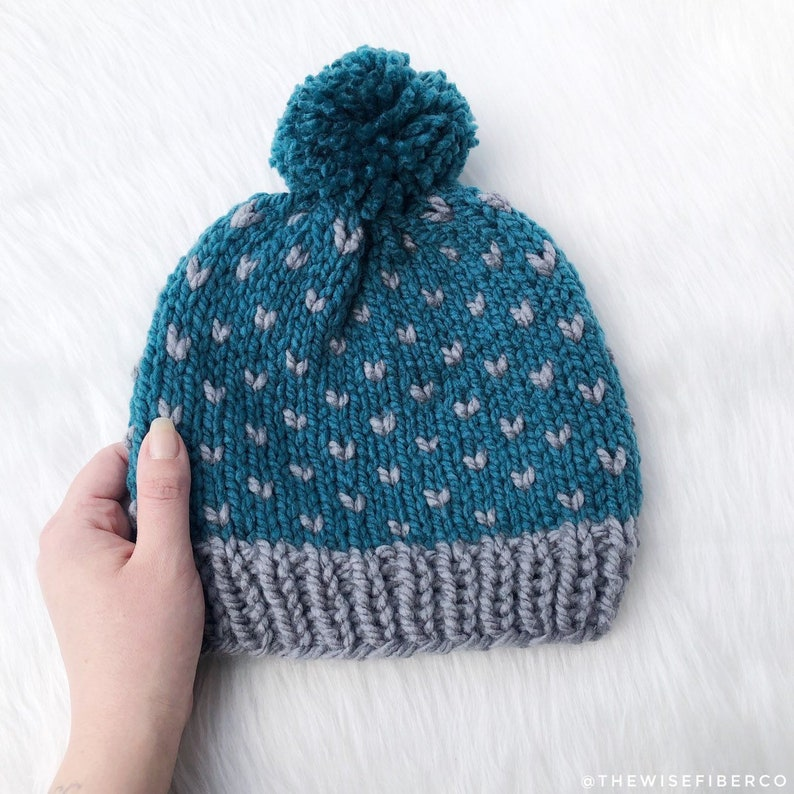 ecfc527fdb5 Women s Teal Blue and Gray Nordic Chunky Knit Beanie with