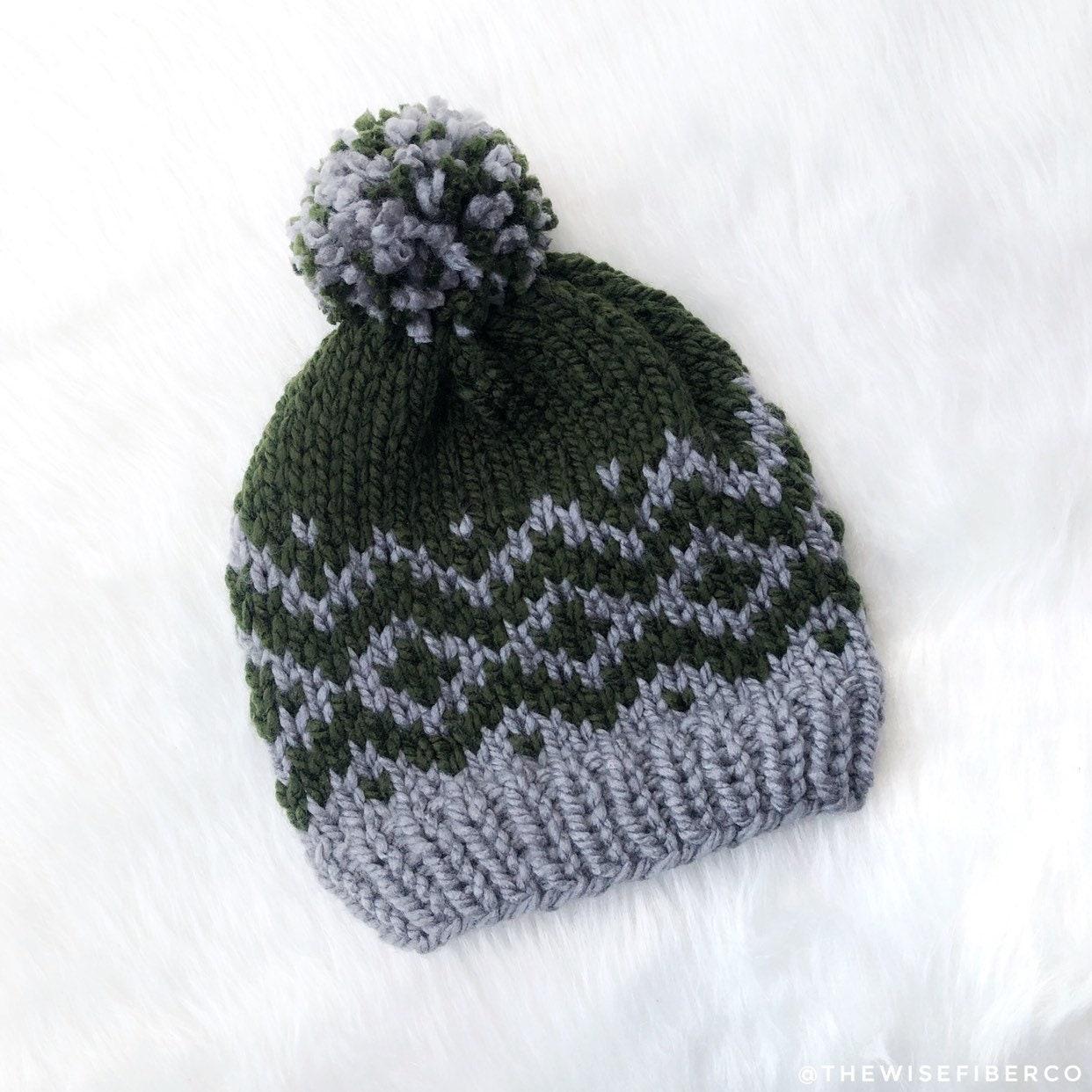 5e49b23ef8e7de Women's Olive Green & Gray Nordic Chunky Knit Beanie w/ | Etsy
