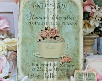 """Shabby Chic Vintage French Country Wall/Table Decor. Sign """"Flower Cupcake Tea Cup"""""""