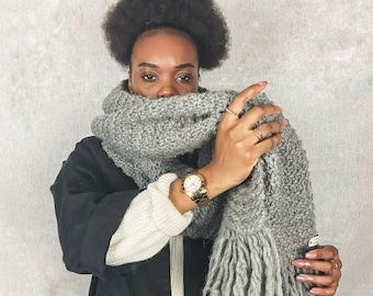 Desiree Scarf, Chunky Knit Scarf, Super Chunky Scarf, Blanket Scarf, Handmade Scarf, Grey Wool Scarf, Unisex Scarf,  Oversized Scarf