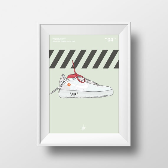 Nike Air Force 1 Low Off White Sneaker Trainers Sneaker Wall Art Print Poster Design