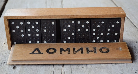 Vintage Wooden Dominoes Board Game 70s Gift For Kids Domino Set Family Game Original Wooden Box Vintage Domino