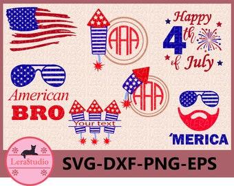 60 % OFF, 4th of July Svg, Fireworks Svg,  Fourth of July Monogram frame, Usa svg, dxf, ai, eps, png, America svg file, United States Files