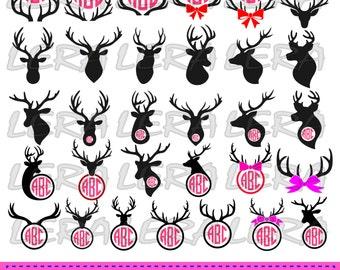 60 % OFF, Deer Head Monogram Frame, Deer Monogram SVG, Antler SVG Files, Deer svg Cut File, png, eps, dxf, Deer Antlers Monogram Frames