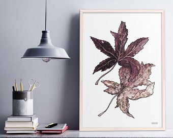 Botanical Print Illustration, Autumn Leaves