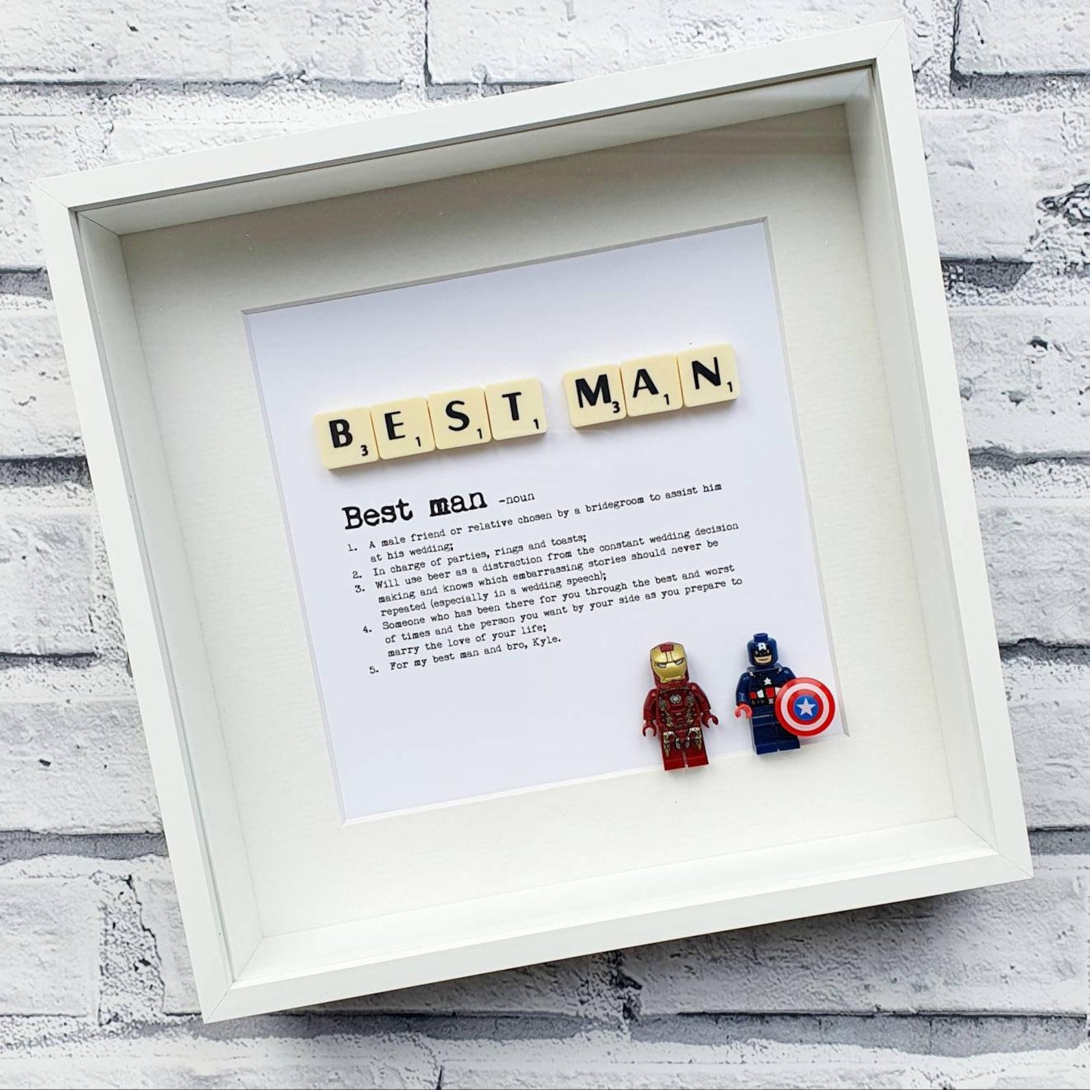 Best Man Definition Minifigure & Scrabble Frame