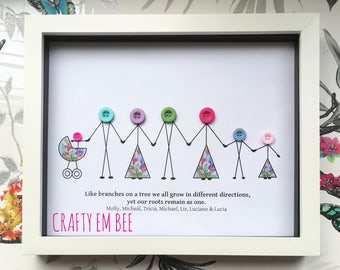 Button Frame for Family • Personalised