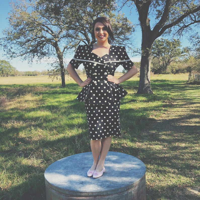 Vintage 1980s Leslie Lucks Polka Dot Suit