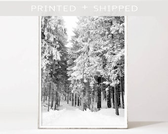 Pine Tree Forest Wall Art Snowy Forest Poster Winter Photography Black And White Prints Winter Poster Printed Poster Nordic Wall Decor 1919
