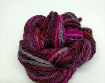 Handspun art yarn, Romney wool, Navajo/chain ply, purple/pink, 38 yards, bulky yarn