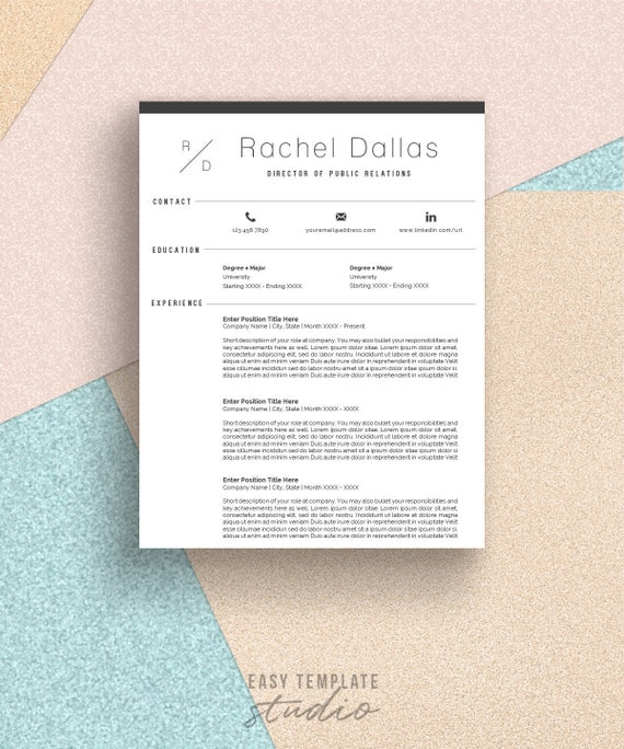 Resume Template Minimalist Resume Cv Template Professional Resume Fashion Resume Instant Download Modern Resume Word Template Easy