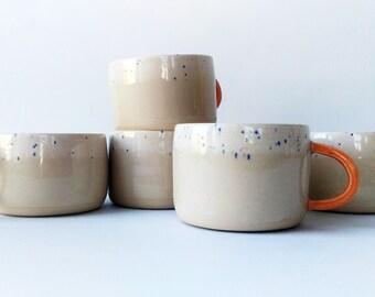 Pair - Big Wheel Thrown Handmade Stoneware Ceramic Mug, Birthday Gift, Coffee Tea Mug, Handmade Gift, Pottery Mug