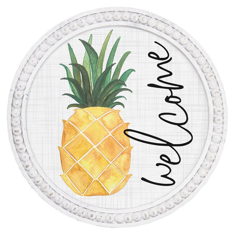 Pineapple Welcome Sign Beach Wall Art Round Wood Sign with Beaded Frame Pineapple Decor Round Welcome Sign Round Beach Wall Decor