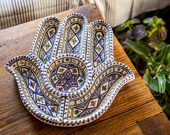 Blue Hamsa Plate-7 plates in 1-Serving Plate-Chip and Dip Set-Hand Made and Hand Painted-Mediterranean-Perfect Hostess Gift-Housewarming Gift-Engagement Gift-Wedding Gift