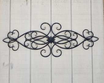 Iron Wall Decor Metal Cabin Scroll Wrought Swirls Home Black Headboard