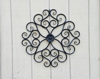 Elegant Metal Wall Decor / Wrought Iron Wall Art / Metal Wall Art / Large Metal  Wall Art / Large Wrought Iron Scroll Decor / Flower Wall Decor